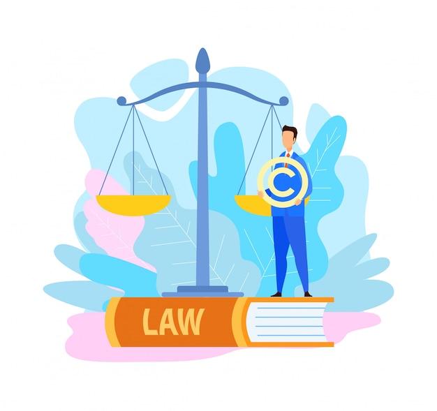 Prawnik trzyma symbol praw autorskich płaski ilustracja Premium Wektorów