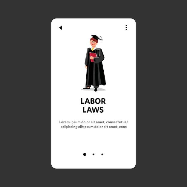 Prawo Pracy Zawodowy Sędzia Sądowy Man Premium Wektorów