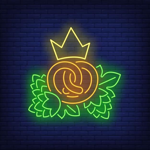 Precel Z Neonowym Znakiem Korony I Szyszek Chmielu Darmowych Wektorów