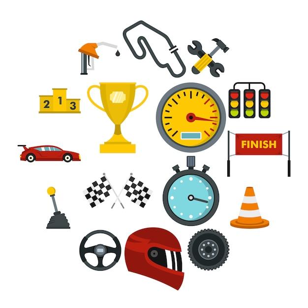 Prędkość wyścigowa ustawić płaskie ikony Premium Wektorów