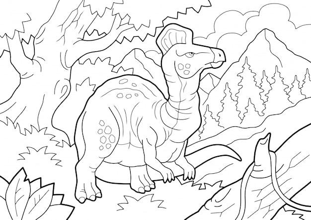 Prehistoryczny Dinozaur Corythosaurus, Kolorowanka, Ilustracja Kontur Premium Wektorów