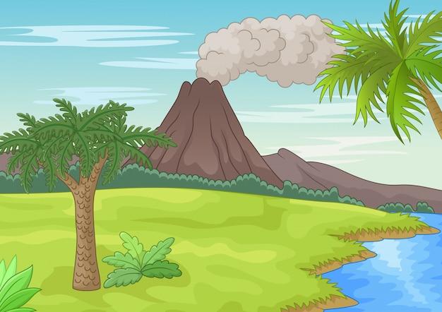 Prehistoryczny krajobraz Premium Wektorów