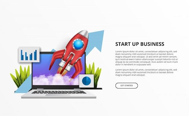Premiera rakiety 3d dla firm z komputerowym laptopem na biurku Premium Wektorów