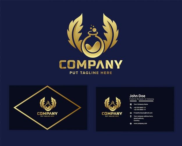 Premium Logo Złoty Laboratorium Nauki Szablon Dla Firmy Premium Wektorów