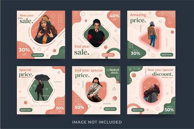 Premium Sprzedaż Moda Kolekcja Szablon Transparent Media Społecznościowe Premium Wektorów
