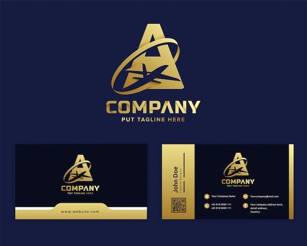 Premium złota litera a z samolotem logo szablon dla firmy Premium Wektorów