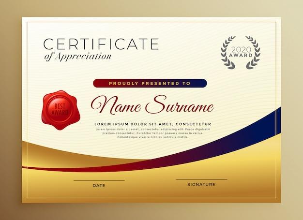 Premium złoty certyfikat szablonu uznania Darmowych Wektorów