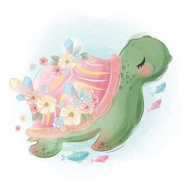 Pretty turtle ze swoimi małymi przyjaciółmi Premium Wektorów