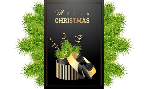 Prezent świąteczny Z Zielonymi Gałązkami świerka Premium Wektorów
