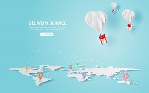 Prezent z wakacji balonów latać w powietrzu Premium Wektorów