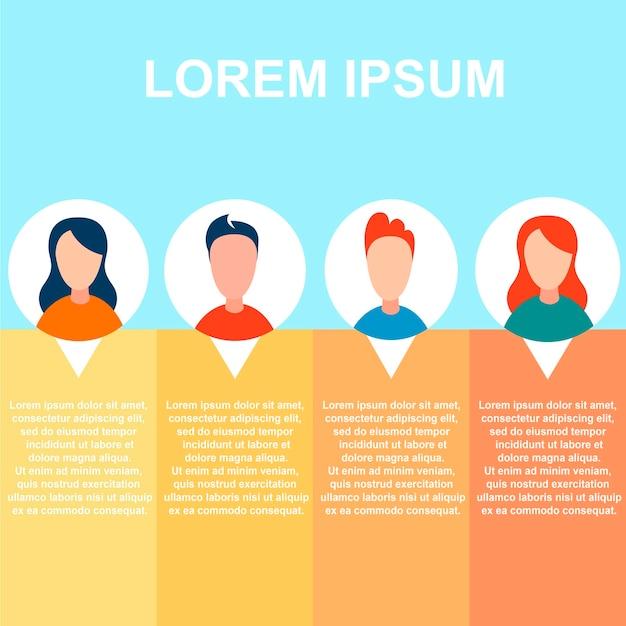 Prezentacja banner slide z informacjami o pracownikach Premium Wektorów