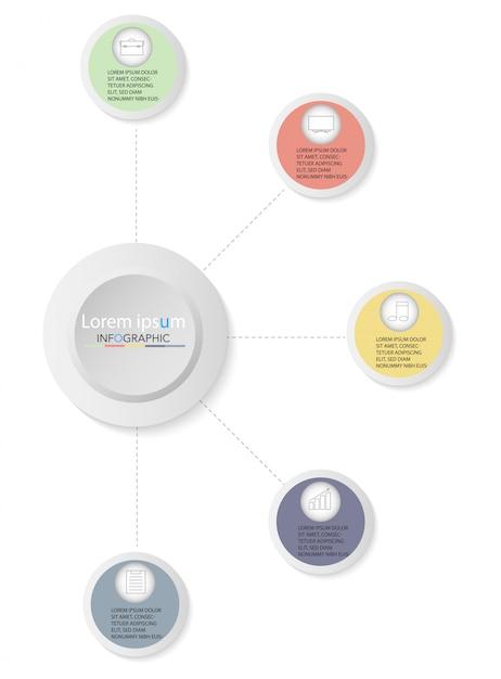 Prezentacja biznes plansza szablon z pięcioma opcjami. ilustracji wektorowych. Premium Wektorów