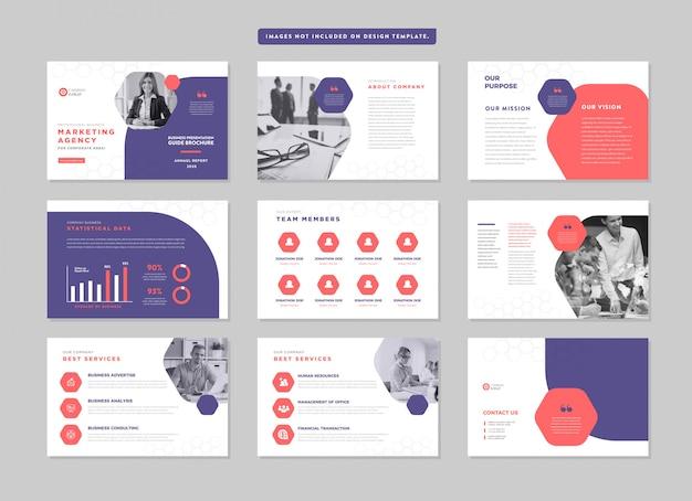 Prezentacja Biznesowa Broszura Przewodnik Projekt | Szablon Slajdów Powerpoint | Suwak Przewodnika Sprzedaży Premium Wektorów