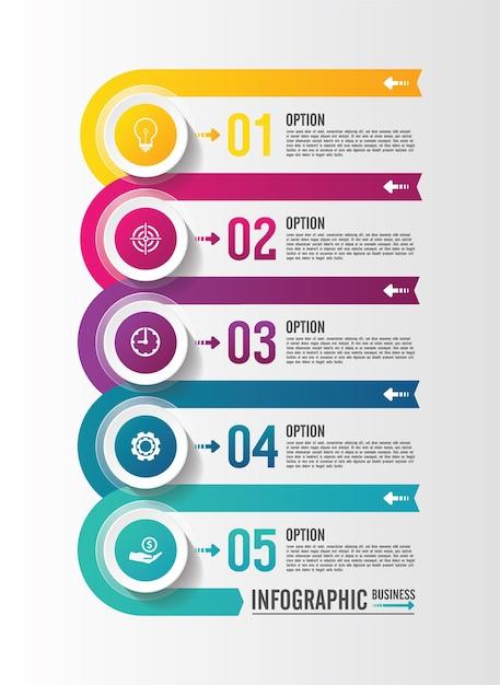 Prezentacja Biznesowa Infografika Szablon Z 5 Krokami Premium Wektorów