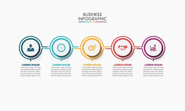 Prezentacja Biznesowa Infografika Szablon Z 5 Opcjami. Premium Wektorów