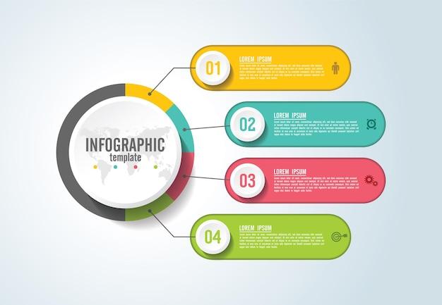 Prezentacja Biznesowa Infografika Szablon Z Krokiem Premium Wektorów