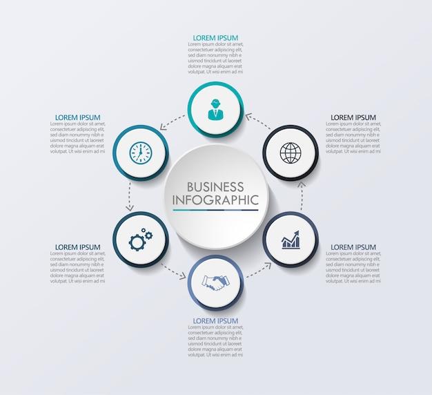 Prezentacja biznesu infografika szablon z 6 opcjami. Premium Wektorów