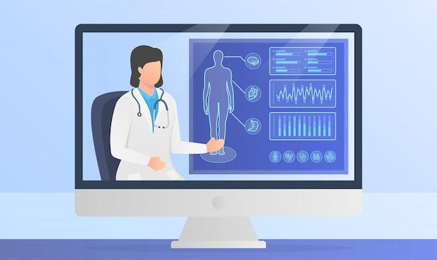 Prezentacja Lekarza Online Raporty Medyczne Na Temat Ludzkiego Ciała Na Ekranie Monitora Z Nowoczesnym Stylu Płaskiego Premium Wektorów