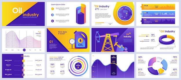 Prezentacja Przemysłu Naftowego Przedstawia Szablony Z Elementów Infografiki Premium Wektorów
