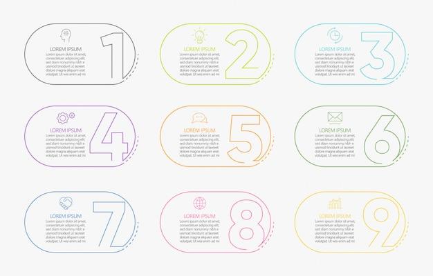 Prezentacyjny Biznesowy Infographic Szablon Z 9 Opcjami. Premium Wektorów