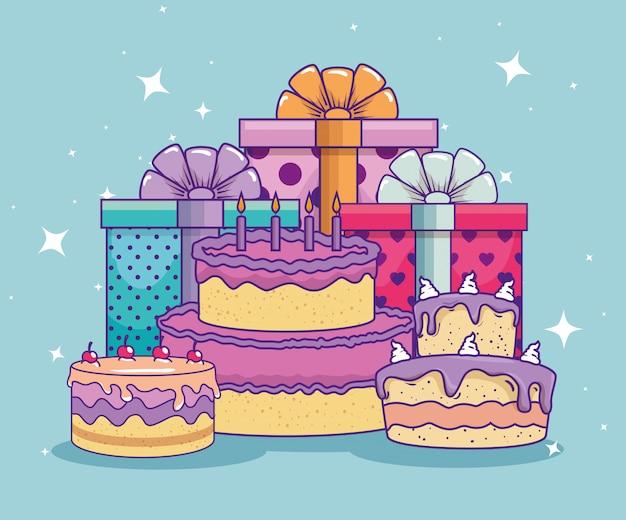 Prezentuje prezenty z kokardką i ciastem na urodziny Darmowych Wektorów