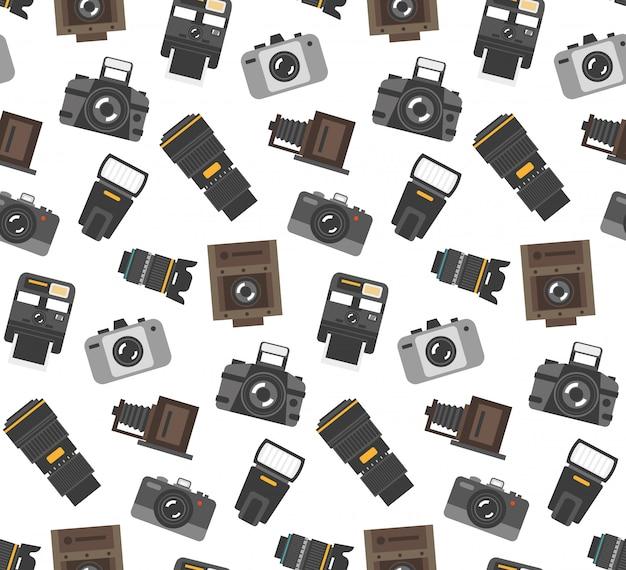 Prezenty I Sprzęt Dla Fotografów Owijają Papierowy Bezszwowy Wzór Z Nowożytną I Retro Kamerą Darmowych Wektorów