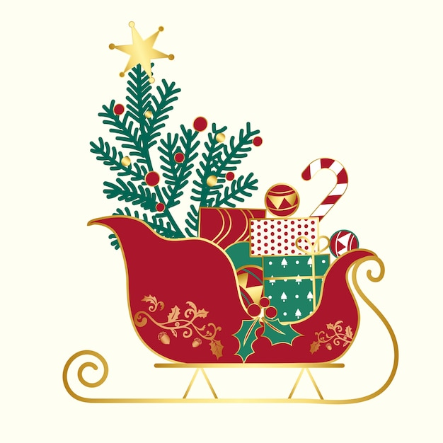 Prezenty świąteczne na wektor sledge Darmowych Wektorów