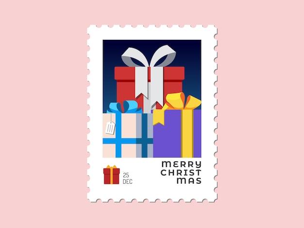 Prezenty - znaczek świąteczny płaska konstrukcja na kartkę z życzeniami i uniwersalny Premium Wektorów