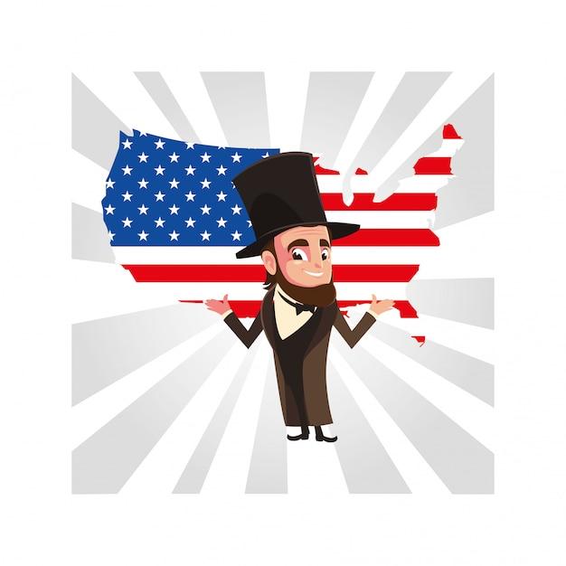Prezydent Abraham Lincoln Z Mapą Stanów Zjednoczonych Premium Wektorów