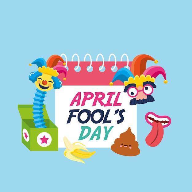 Prima Aprilisowy Kalendarz Między Komiksową Twarzą A Emoji. Ilustracja Premium Wektorów