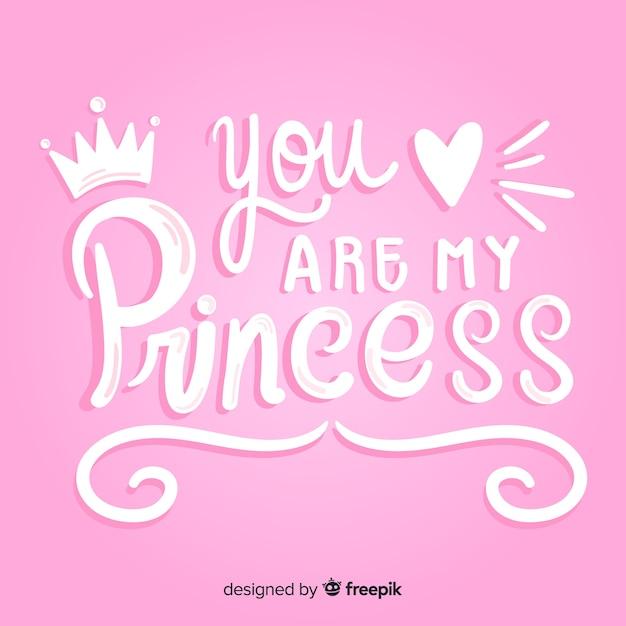 Princess Kaligraficzna Ręka Rysujący Tło Darmowych Wektorów