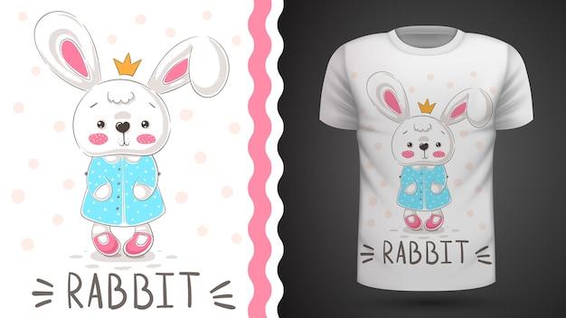 Princess rabbit - pomysł na t-shirt z nadrukiem Premium Wektorów