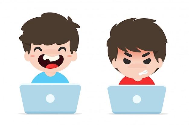 Problem Dzieci Uzależnionych Od Internetu. Premium Wektorów