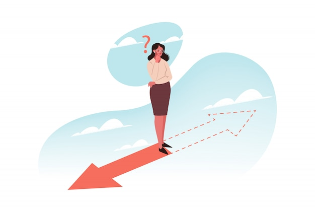 Problem, Myślenie, Wybór, Kierunek, Koncepcja Biznesowa Premium Wektorów