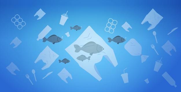 Problem środowiskowy Zanieczyszczenia Plastikowymi Odpadami W Oceanie Ocalić Worki Koncepcji Ziemi I Inne Zanieczyszczenia Zanieczyszczające Pływające W Wodzie Płasko Poziomo Premium Wektorów