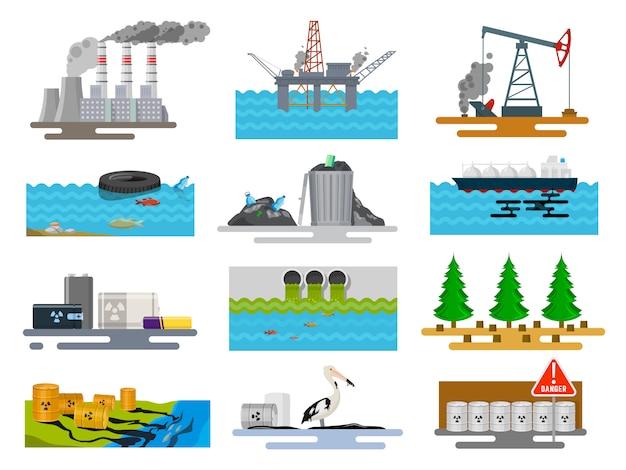 Problemy ekologiczne w przyrodzie Premium Wektorów