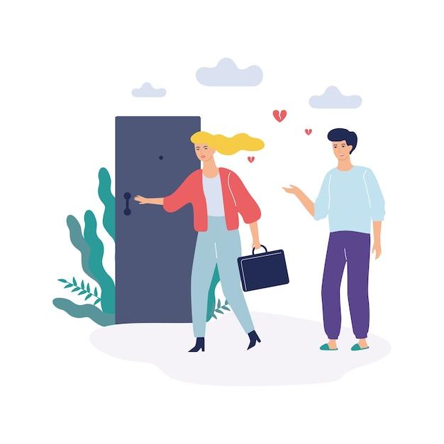 Problemy W Rodzinie. Kobieta I Mężczyzna, Kłótnia I Rozwód Premium Wektorów