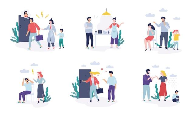 Problemy W Zestawie Rodzinnym. Ojciec I Matka Kłócą Się Premium Wektorów