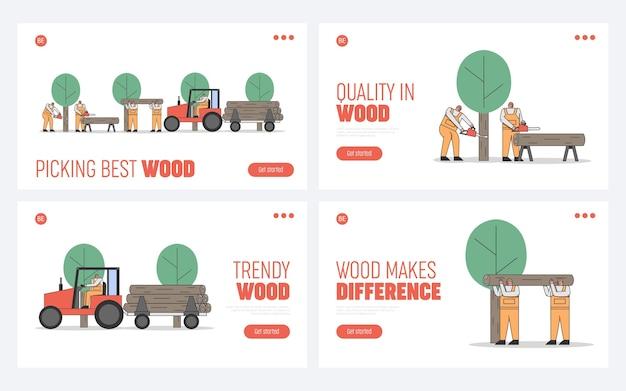 Proces Cięcia, Transport Drzew. Premium Wektorów