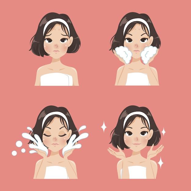 Proces oczyszczania twarzy z trądziku. Premium Wektorów