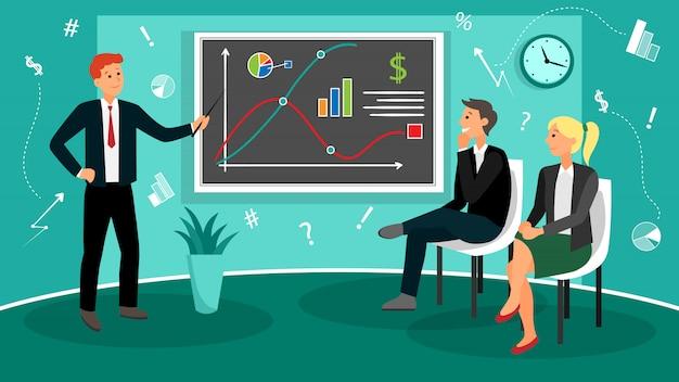 Proces Pracy Zespołowej W Biurze Coworkingowym Z Przepływem Pracy W Stylu Płaskiej Premium Wektorów