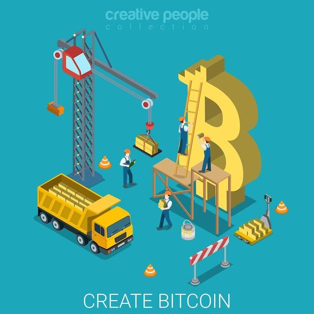 Proces Tworzenia Bitcoinów Płaska Izometryczna Alternatywna Kryptowaluta Darmowych Wektorów