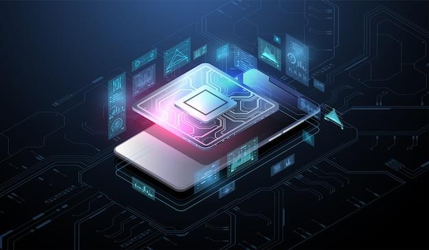 Procesor Mikroczipowy Z Efektami świetlnymi. System Cybernetyczny, Futurystyczna Technologia Komputerowa. Analiza I Skanowanie Chipa. Cpu - Duża Baza Danych, Przetwarzanie, Szybka Analiza. Interfejs Hud. Premium Wektorów