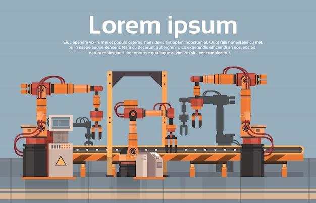 Produkcja Fabryczna Przenośnik Automatyczna Linia Montażowa Przemysł Przemysłowa Koncepcja Automatyki Premium Wektorów