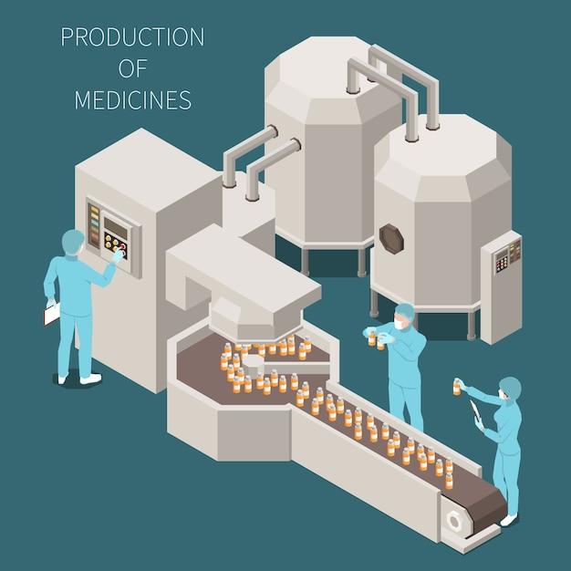 Produkcja Farmaceutyczna Izometryczny Kolorowy Kompozycja Z Produkcji Opisów Leków I Proces Pracy Na Ilustracji Laboratoryjnej Darmowych Wektorów
