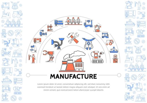 Produkcja Ikon Kolorowych Linii Szablon Z Młotkiem Klucza Fabrycznego Maszyn Przemysłowych Darmowych Wektorów