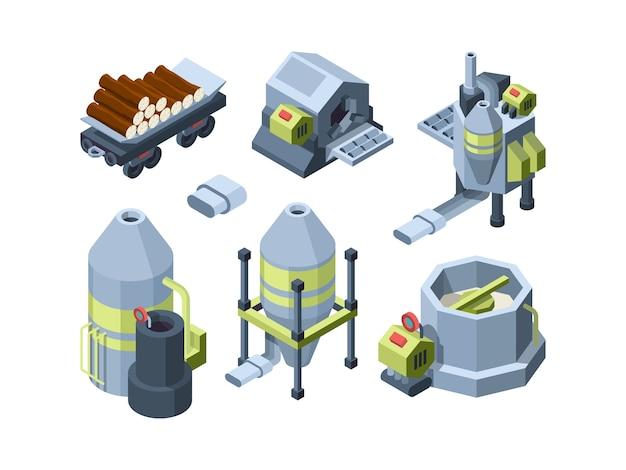 Produkcja Papieru. Sprzęt Prasowy Zakłady Przemysłowe Wytwarzające Druk Biurowy I Papier Toaletowy Tektura Wektor Izometryczny. Sprzęt Do Produkcji Papieru, Fabryka Przetwarzania 3d Ilustracji Operacji Premium Wektorów