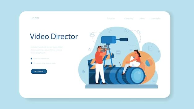 Produkcja Wideo Lub Baner Internetowy Lub Strona Docelowa Dla Kamerzystów. Przemysł Filmowy I Kinowy. Tworzenie Treści Wizualnych Dla Mediów Społecznościowych Przy Użyciu Specjalnego Sprzętu. Premium Wektorów