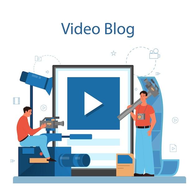 Produkcja Wideo Lub Usługa Lub Platforma Online Dla Kamerzystów. Przemysł Filmowy I Kinowy. Blog Wideo Online. Premium Wektorów