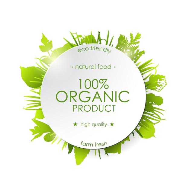 Produkt Ekologiczny, Zielony Okrągły Baner Z Zielonymi Roślinami. Premium Wektorów